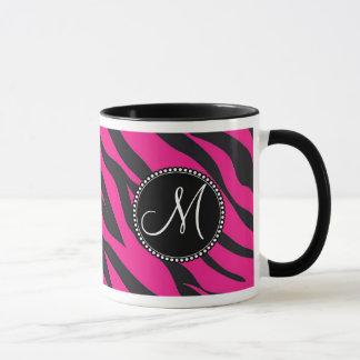 Custom Monogrammed Initial Hot Pink Black Zebra Mug