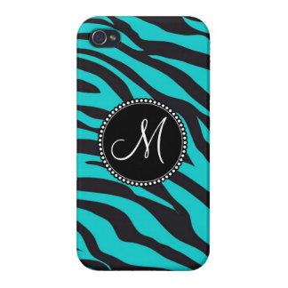Custom Monogrammed Initial Teal Black Zebra Stripe Covers For iPhone 4