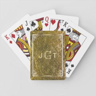 Custom Monogrammed Initials | Elegant Gold Playing Cards