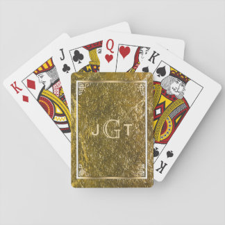 Custom Monogrammed Initials | Elegant Gold Poker Deck