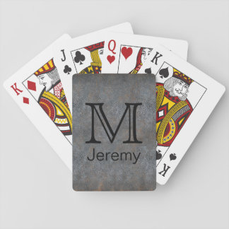 Custom Monogrammed Name Initial Antique Leather Playing Cards