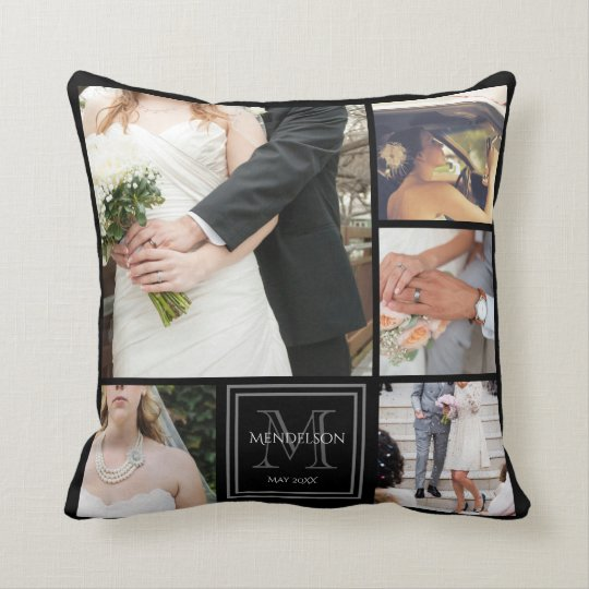 Custom monogrammed photo frame throw pillow