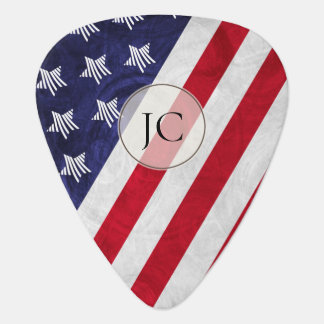 custom monogrammed red white blue American flag Guitar Pick