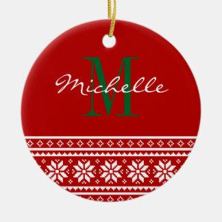 Custom monogrammed round Christmas tree ornament
