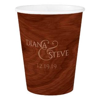 Custom Monogrammed | Rustic Barn Wood Wedding Paper Cup