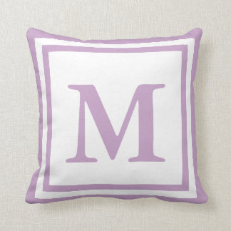 Custom Monogrammed White and Lilac Throw Pillow