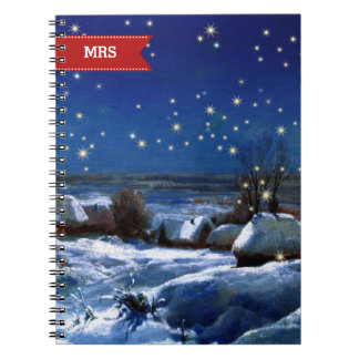 Custom Monograms Fine Art Christmas Gift Notebooks