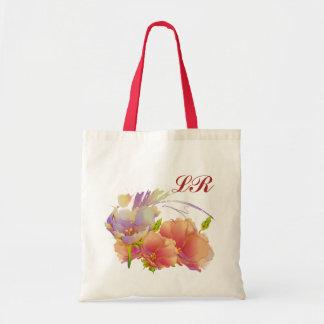 Custom Monograms | Flower Painting Gift Tote Bags