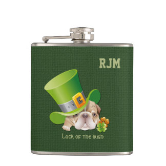 Custom Monograms Funny Bulldog Gift Flasks
