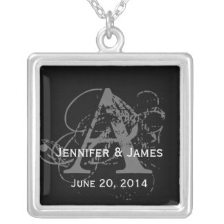 Custom Monograms Names Date Wedding Necklaces