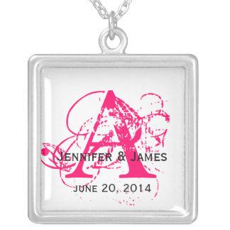 Custom Monograms Names Date Wedding Necklaces