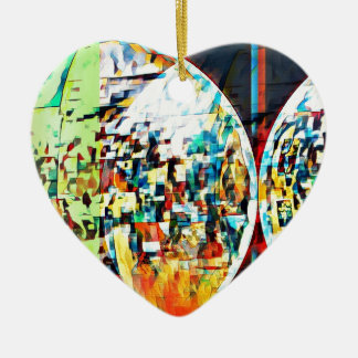 Custom Moon Into Disco Design Ceramic Heart Ornament