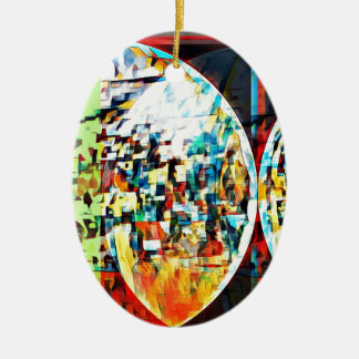 Custom Moon Into Disco Design Ceramic Oval Ornament