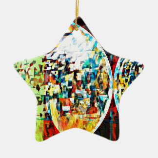 Custom Moon Into Disco Design Ceramic Star Ornament