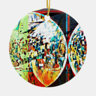 Custom Moon Into Disco Design Round Ceramic Ornament