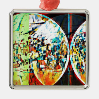 Custom Moon Into Disco Design Silver-Colored Square Ornament