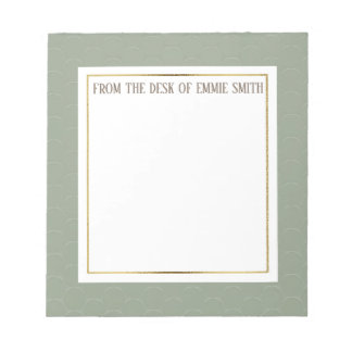Custom Moss Green White  and Gold Notepad