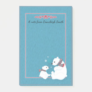 Custom Mother Polar Bear and Baby Christmas Post-it Notes