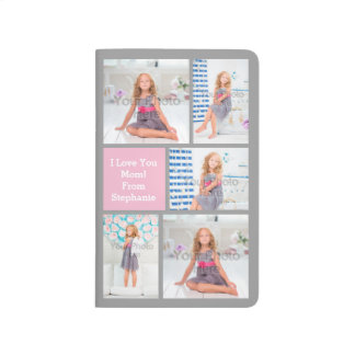 Custom Mothers Day Photo Collage Pink/Green/Gray Journals