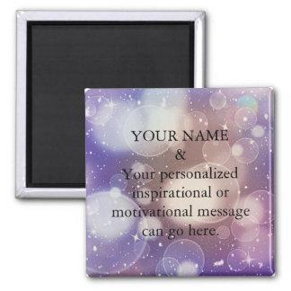 Custom Motivational Message Purple Glitter Square Magnet