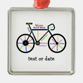 Custom Motivational Words for Bike Cycle Fans Silver-Colored Square Ornament