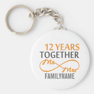 Custom Mr and Mrs 12th Anniversary Keychain