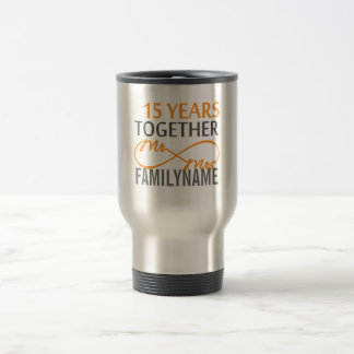 Custom Mr and Mrs 15th Anniversary Travel Mug