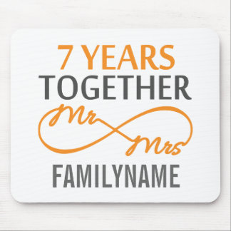 Custom Mr and Mrs 7th Anniversary Mouse Pad