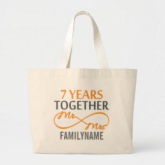 Custom Mr and Mrs 7th Anniversary Tote Bags