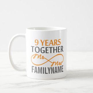 Custom Mr and Mrs 9th Anniversary Coffee Mug