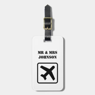 Custom Mr and Mrs airplane travel luggage tags