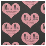 Custom Mr. and Mrs. Wedding Black Heart Template Fabric