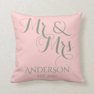 Custom Mr And Mrs Wedding or Anniversary Gift Throw Pillow
