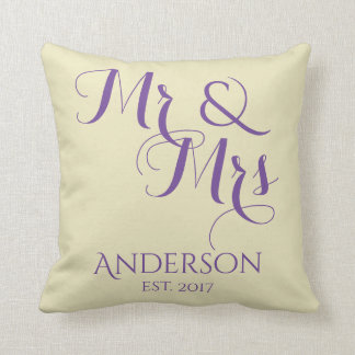Custom Mr And Mrs Wedding or Anniversary Gift Throw Pillow