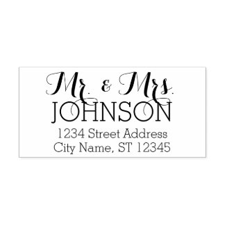 Custom Mr. & Mrs. Family Name and Return Address Self-inking Stamp