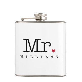 Custom Mr. Wedding Flask | Groom Gift