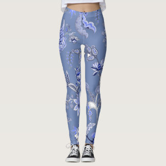 Custom Multi-colored Blue Chintz Leggings