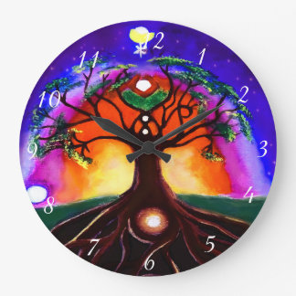 Custom multicolor unique painted tree of life large clock