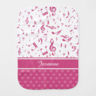 Custom Music Notes and Hearts Pattern Pink White Burp Cloth