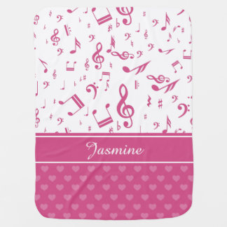 Custom Music Notes and Hearts Pattern Pink White Swaddle Blanket