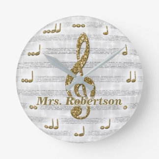 Custom Musical Note Clock Glitter Gold