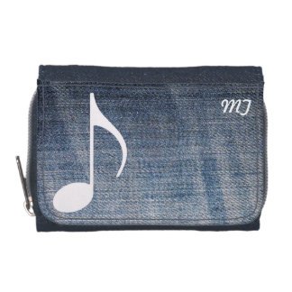 custom musical note on jeans texture wallets