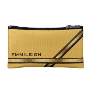 Custom Mustard Yellow Black Gold Geometric Cosmetic Bag