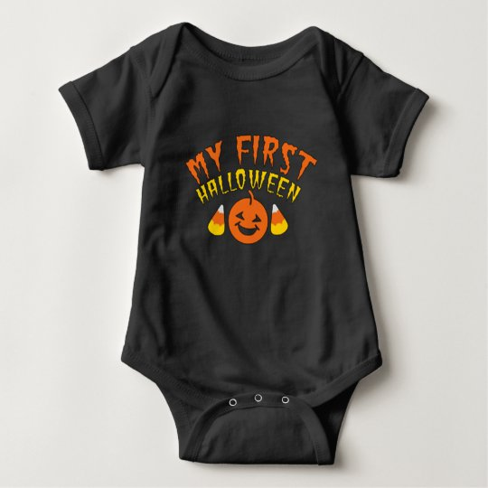 Custom My 1st Halloween Candy Corn and Pumpkin Baby Bodysuit