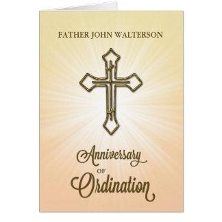 Custom Name, 10th Anniversary of Ordination, Gold Card