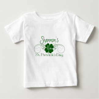 Custom Name: 1st St. Patrick's Day Shamrock Swirl Baby T-Shirt
