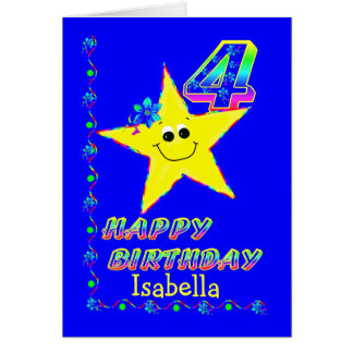 Custom Name 4th Birthday Stars Card