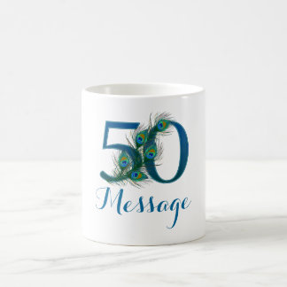 Custom name 50th birthday personalized text mug