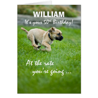 Custom Name 50th Birthday Puppy Running Card