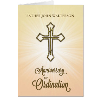Custom Name, 65th Anniversary of Ordination, Gold Card